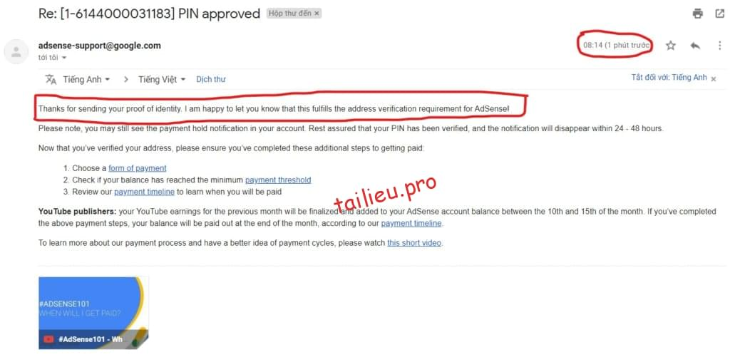 successfull verification requirement for Adsense