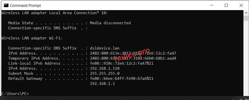 ip configuration command line